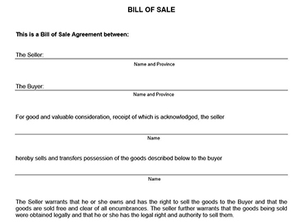 alberta vehicle bill of sale printable little light